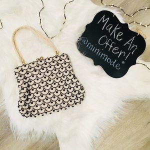 Vintage Beaded Black and White Scalloped Bag